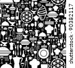 Black and white gourmet icon set seamless pattern background. Vector file available. - stock photo