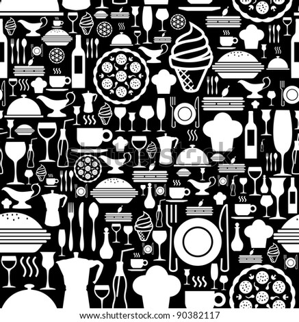 Black and white gourmet icon set seamless pattern background. Vector file available. - stock vector