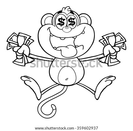 Black And White Greedy Monkey Cartoon Character Jumping With Cash Money Dollar Eyes Vector