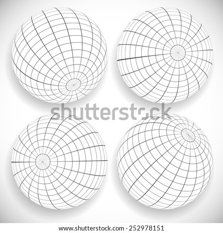 Black and white gridded, wire-frame spheres. - stock vector