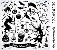 Black and white halloween set. Vector illustration. Illustration for greeting cards, invitations, and other printing projects. - stock vector