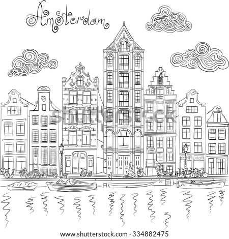 Black and white hand drawing, city view of Amsterdam canal and typical houses, Holland, Netherlands.  - stock vector