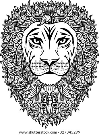 Black and white hand drawn abstract lion vector illustration