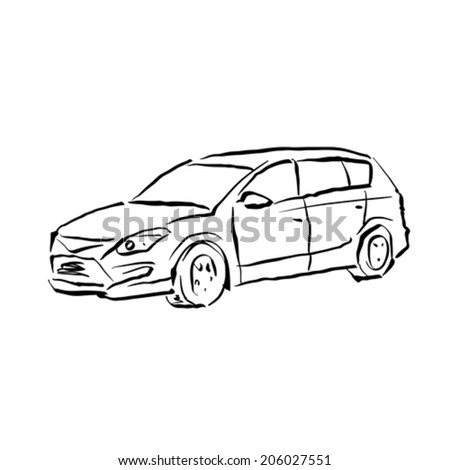 Black and white hand drawn car on white background, illustrated hatchback.