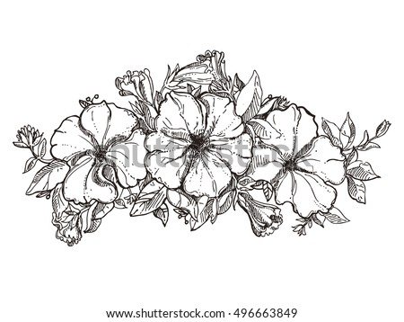 Floral composition bouquet hand drawn flowers stock vector for Flower crown coloring page