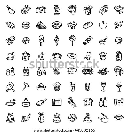 black and white hand drawn icons - FOOD & COOKING - stock vector