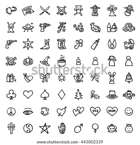 black and white hand drawn icons - FUN & SYMBOLS - stock vector