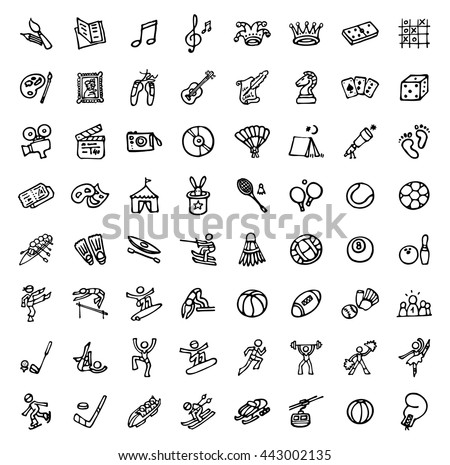 black and white hand drawn icons - SPORTS & LEISURE - stock vector