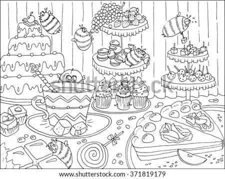 Black and white hand drawn illustration with funny bees in sweetshop, artwork with cakes, sweets and candies, food and celebration theme, page for coloring book for adults and kids, doodle line art - stock vector