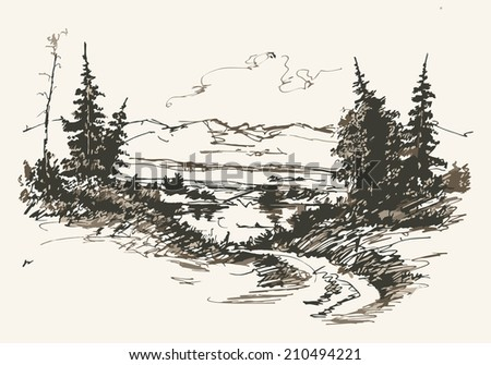 Black and white hand drawn landscape. Vector illustration - stock vector