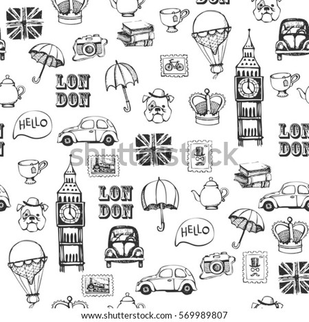 Black and white hand drawn retro british pattern