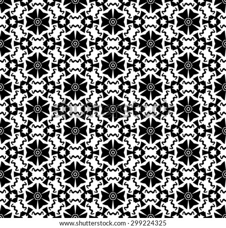 Black and White, hand drawn, seamlessly repeating ornamental wallpaper or textile pattern.