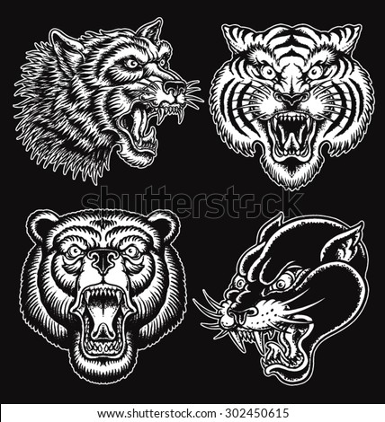 Black and White hand drawn tattoo style animal faces - stock vector