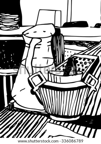 black and white hand drawn vector illustration of bar  with jar of wine , glasses and sugar. Bar sketch style still life.