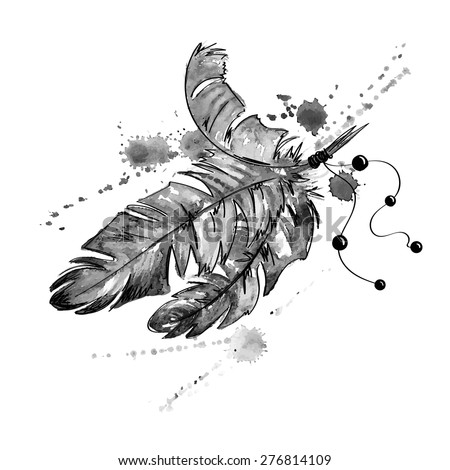 Black and white hand drawn watercolor illustration with bird feathers. - stock vector
