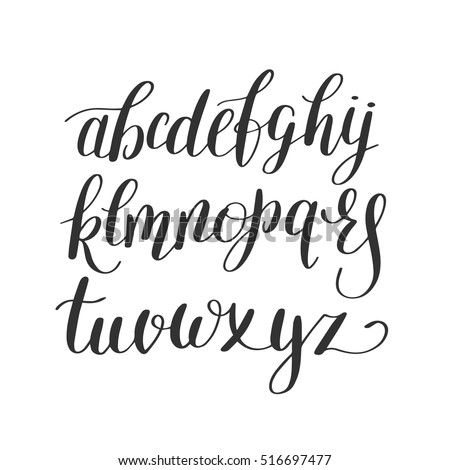 Black And White Hand Lettering Alphabet Design Handwritten Brush Script Modern Calligraphy Cursive Font Vector