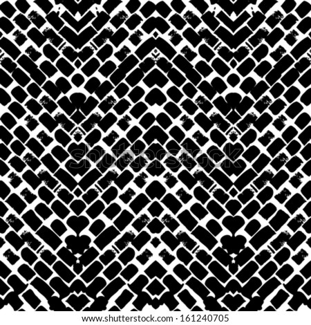 Black and white hand painted vector seamless pattern with zigzag lines. Texture for web, print, home decor, textile, wrapping paper, wallpaper, invitation card background, summer fall fashion fabric - stock vector