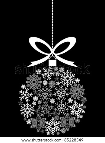Black and White Hanging Christmas Ornament Made of Snowflakes - stock vector