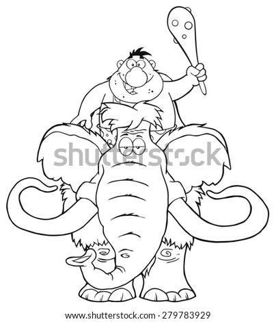 Black And White Happy Caveman Over Mammoth. Vector Illustration Isolated On White - stock vector