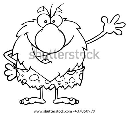 Black And White Happy Male Caveman Cartoon Mascot Character Waving For Greeting. Vector Illustration Isolated On White Background