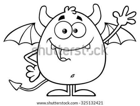 Black And White Happy Red Devil Cartoon Character Waving. Vector Illustration  Isolated On White - stock vector
