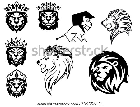 Black and white heraldic lions heads for emblem, heraldry and animal King concept design - stock vector