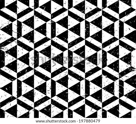 Black and white hexagonal ornament - stock vector