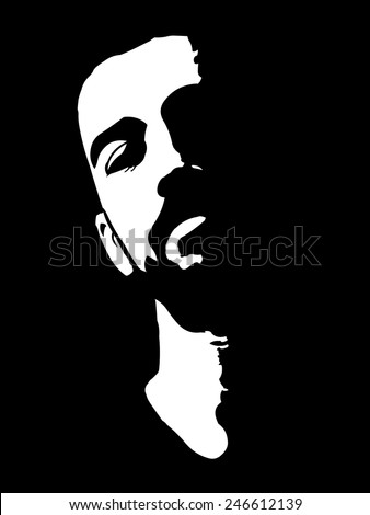 Black and white high contrast portrait of confident young man with head lean back.  Easy editable layered vector illustration.
