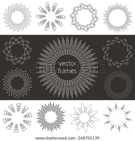 Black and white hipster frames - emblems, labels, badges, templates, icons, logos, elements - stock vector