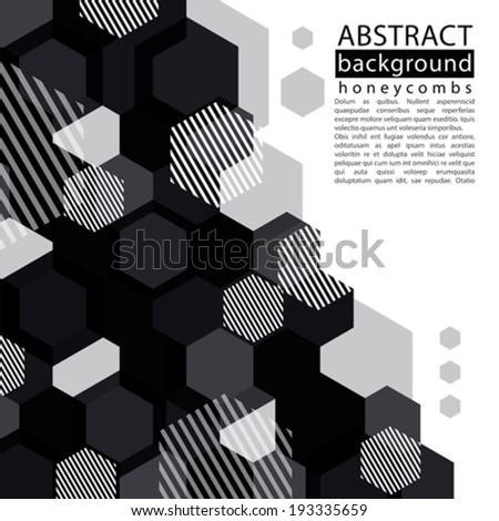 Black and white honeycomb abstract background with caption and text, decorative geometric monochrome backdrop, transparent vector background. - stock vector