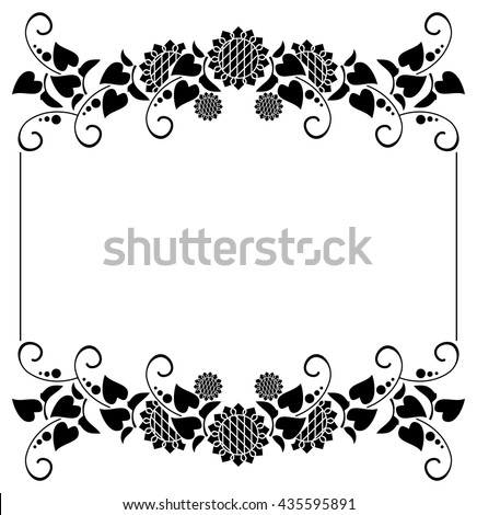 Black And White Horizontal Frame With Decorative Sunflowers Silhouettes Vector Clip Art