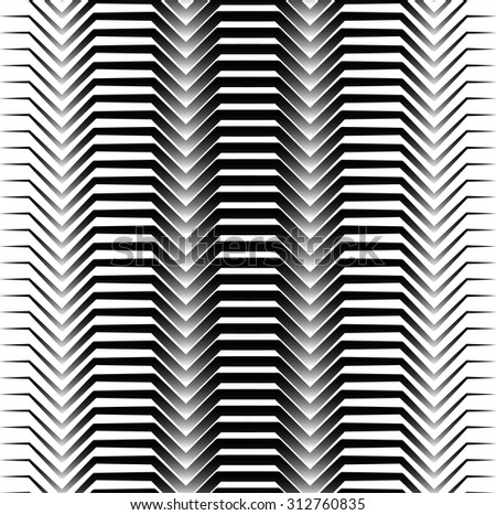 Black and white horizontal zigzag lines abstract pattern. Seamlessly repeatable. Vector. - stock vector