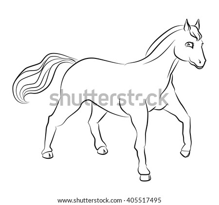 black and white horse image - perfect for children's coloring books and not only