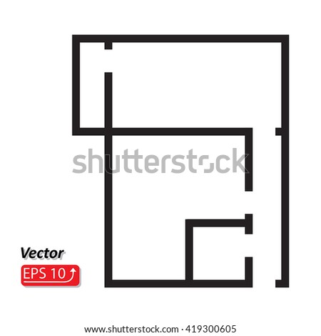 Black and white House, apartment plan  House Home Building Architecture Blueprint  icon EPS10 vector illustration - stock vector