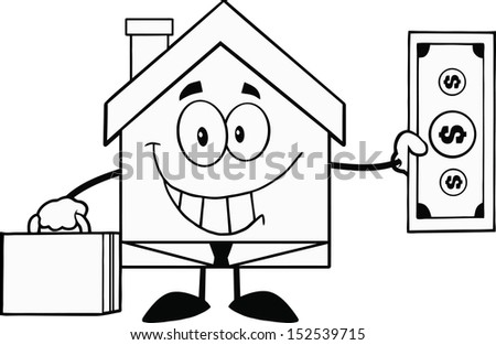 Black And White House Businessman Carrying A Briefcase And Showing A Dollar Bill - stock vector