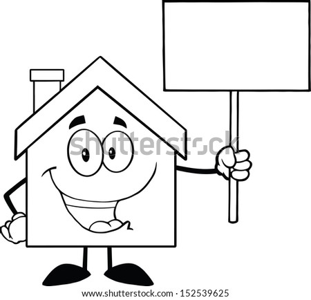 Black And White House Cartoon Character Holding Up A Blank Sign - stock vector
