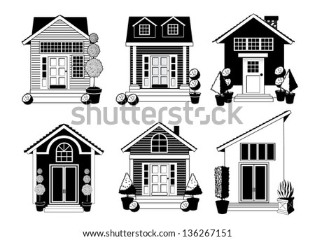 Black and white house icon set. EPS 10 vector, grouped for easy editing, No open shapes or paths. - stock vector