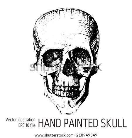 Black and white human skull with a lower jaw - stock vector