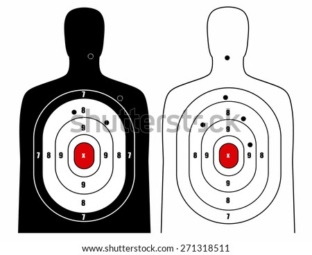 Black and white human target - stock vector