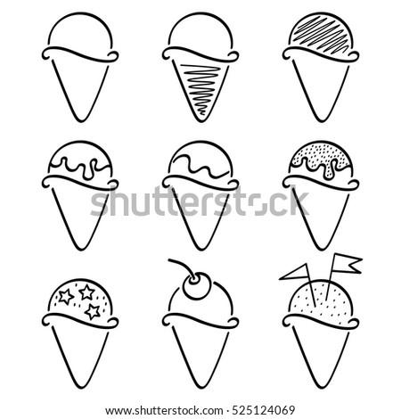 Black And White Ice Cream Line Icons Set