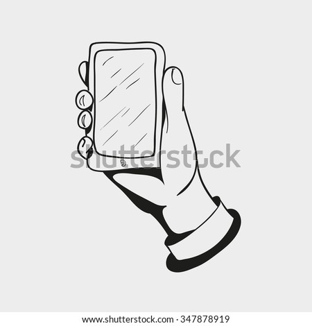 black and white icon, hand drawn hand holding the smart mobile phone isolated on a white background