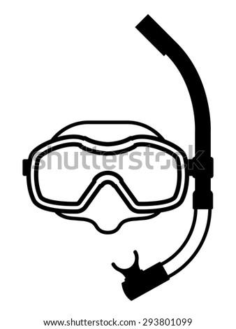 Black and white icon of snorkeling equipment made of protective mask for clear visibility and snorkel for breathing underwater, isolated with copy space on white - stock vector