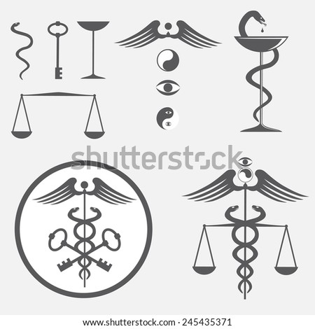 black and white icon set caduceus - stock vector