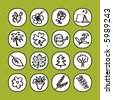 black and white icon set - nature - others of same series : http://www.shutterstock.com/lightboxes.mhtml?lightbox_id=829090 - stock vector
