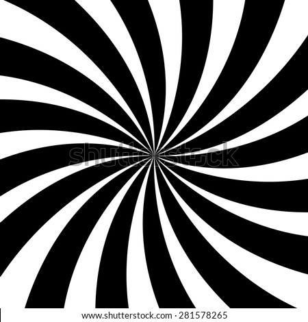 Black and White Illusionary Spiral Lines  - stock vector