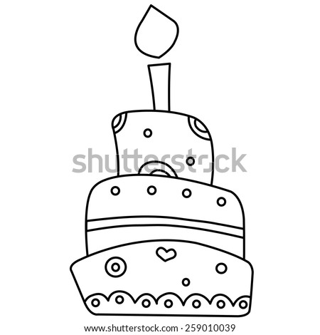 Black White Outlined Illustration Birthday Cake Stock ...