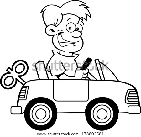 Black and white illustration of a boy driving a toy car.