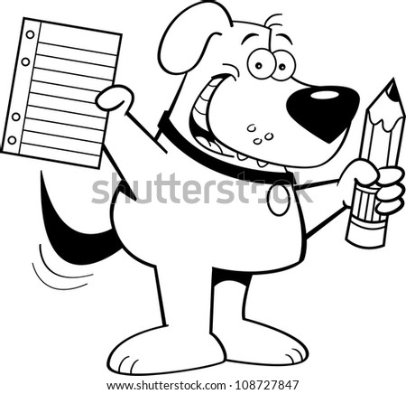 Black and white illustration of a dog holding a pencil and paper