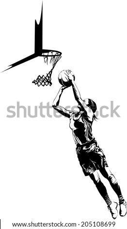 Black and White  illustration of a girl basketball player shooting a basketball she rebounded. - stock vector
