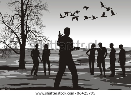 black and white illustration of a group of young people in autumn nature - stock vector
